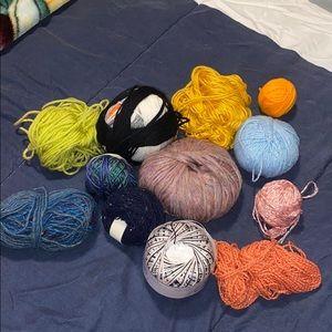 Bundle of assorted yarn.